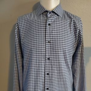 Nordstrom Blue Micro Check 16 34/35 Excellent Cond